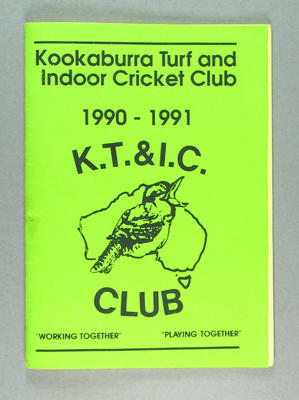 Booklet, Kookaburra Turf & Indoor Cricket Club - 1990-91