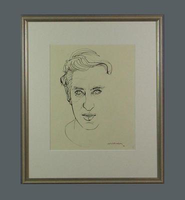 Original framed sketch of Peter Hudson signed by artist Louis Kahan 1972