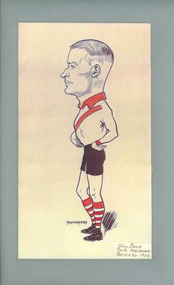 Caricature of John Bowe in South Melbourne FC uniform, 1933