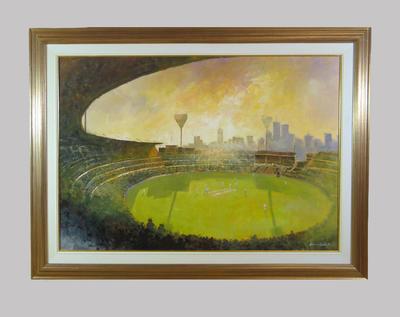 Oil painting of Melbourne Cricket Ground at sunset, by artist Herman Pekel; Artwork; Framed; M13730