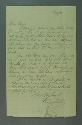 Letter from Rupert Steele to Elsa Troedel, Egypt - 26 Dec 1915