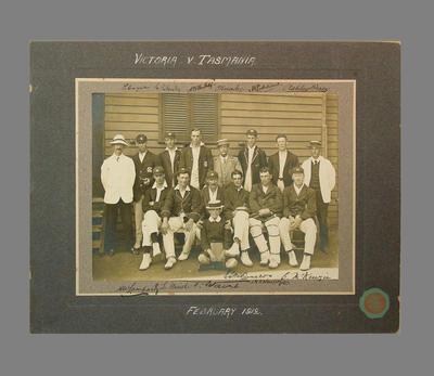 Cricket team photograph - Victoria v Tasmania, February 1912; Photography; M7406
