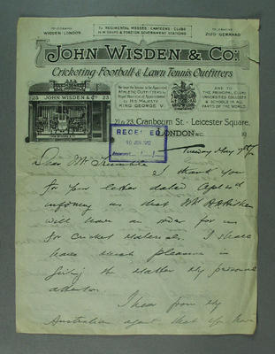 Letter addressed to Hugh Trumble, from John Wisden & Co - 1912; Documents and books; M9546