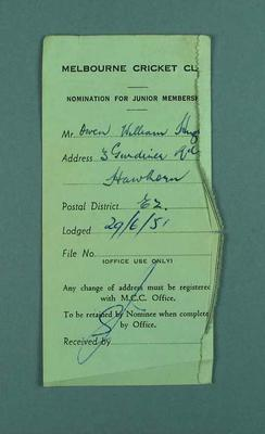 Receipt for nomination to junior membership of the Melbourne Cricket Club, 29 June 1951
