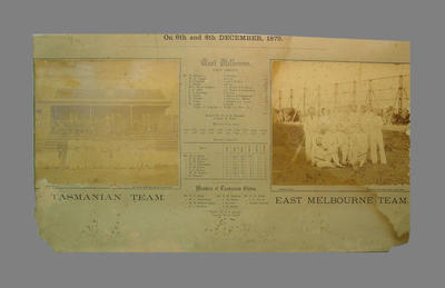East Melbourne & Tasmanian XI teams with scorecard - 6 + 8 December 1879; Photography; Documents and books; M7400