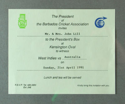 Invitation to West Indies v Australia Test match, Kensington Oval - 1991; Documents and books; M13738