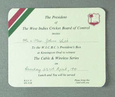 Invitation to West Indies v Australia Test match, Kensington Oval - 1991; Documents and books; M13739