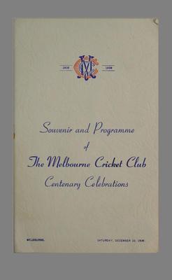 Melbourne Cricket Club Centenary Celebrations program 10 December 1938