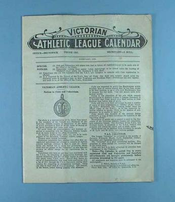 Victorian Athletic League Calendar, Feb 1929