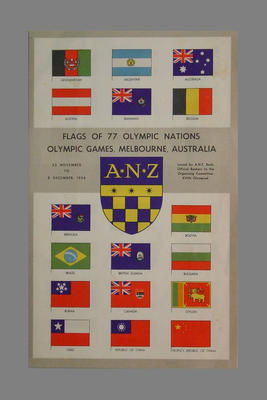 Booklet - Flags of 77 competing Olympic Nations, 1956 Olympic Games