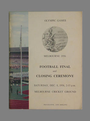 1956 Olympic Games  Football Final & Closing Ceremony programme, 8/12/56
