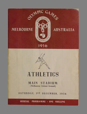 Athletics programme 1 December 1956, Melbourne Olympic Games