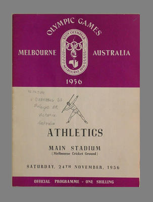 Programme, 1956 Melbourne Olympic Games athletics events - 24 November