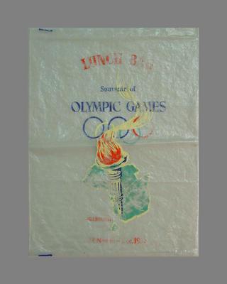 Plastic lunch bag, 1956 Melbourne Olympic Games souvenir