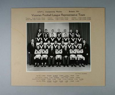 Black and white  photograph of the Victorian Football League Representative Team, Brisbane 1961; Photography; 1987.1559
