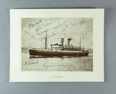 Photograph of RMS Orontes, autographed by 1948 Australian cricket team