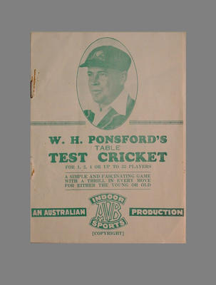 W.H. Ponsford's Table Test Cricket board game instruction booklet c. 1930s; Documents and books; M7430