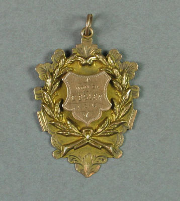 Medal presented by Footscray Swimming Club for first place in half mile handicap race 1912, won by CH Esler