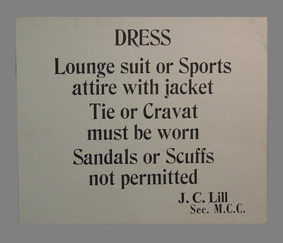 Signage with Dress code requirements for M.C.C. Members; Documents and books; Flags and signage; M7051.1