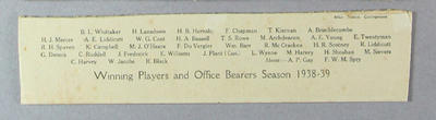 List of persons depicted in photograph of Fitzroy Cricket Club, 1938-39; Documents and books; Artwork; M13602.2