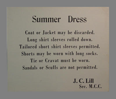 Signage with Summer Dress code requirements for M.C.C. Members