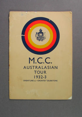 Programme for 1932-33 Marylebone Cricket Club Australasian Tour