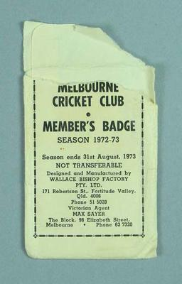 Envelope for Melbourne Cricket Club medallion, 1972-73; Trophies and awards; M13659.3