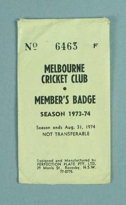 Envelope for Melbourne Cricket Club medallion, 1973-74; Trophies and awards; M13660.2