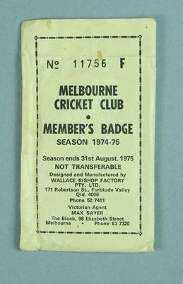 Envelope for Melbourne Cricket Club medallion, 1974-75; Trophies and awards; M13661.3