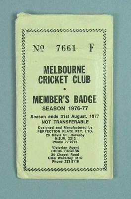Envelope for Melbourne Cricket Club medallion, 1976-77; Trophies and awards; M13663.3