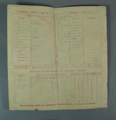 Scoresheet - Cricket match played at Williamstowm, Melbourne v Second; Documents and books; Documents and books; M7117.2