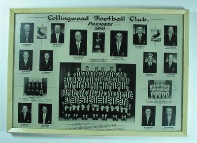 Framed montage, Collingwood FC VFL Premiers 1958