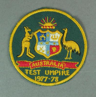 Badge - Australian Test Umpire 1977-78