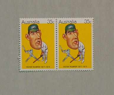 Australian 35c stamps with image of cricketer Victor Trumper x 2