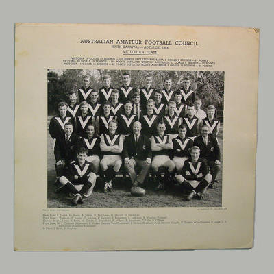 Team photograph: Victorian Amateur Football Council, 9th Carnival, Adelaide 1964; Photography; M7375.2