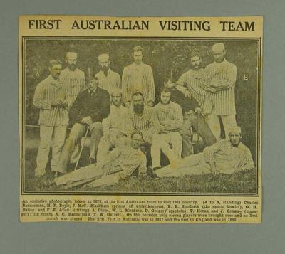 Newspaper photograph of Australian cricket team, 1878; Documents and books; 1988.2008.20