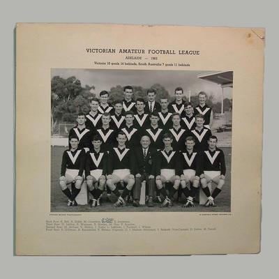 Team photograph: Victorian Amateur Football League, Adelaide 1963; Photography; M7375.1