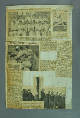 Scrapbook page, clippings related to schoolboy cricket of Ron Liddicut - 1930s