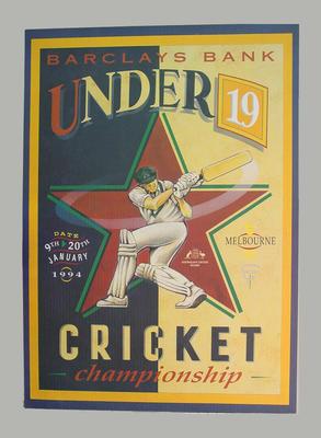 Poster - Barclays Bank Under 19 Cricket Championship January 1994