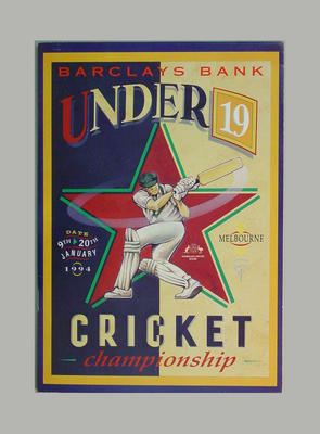 Programme - Barclay's Bank Under 19 Cricket Championships 1994