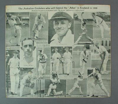 "Souvenir print from ""The Argus"" newspaper, Australian cricketers 1938"