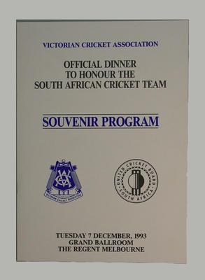 VCA Dinner honouring South African Cricket Team 7 December 1993 Regent Ballroom