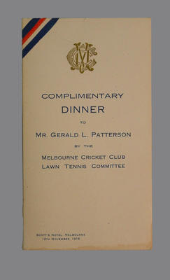 Menu: Dinner for Mr Gerald Patterson, MCC Lawn Tennis Committee 12/11/1919