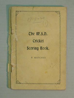 Score book:   McConchie Cricket Club - 1919-20 (1)  season; Documents and books; M7549.10