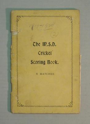 Score book:  McConchie Cricket Club - 1919-20 (2) season; Documents and books; M7549.11