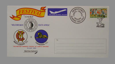First Day Cover 19/7/92 ' Festival of Cricket';  Welcome Back South Africa, MCC v  Transvaal CC