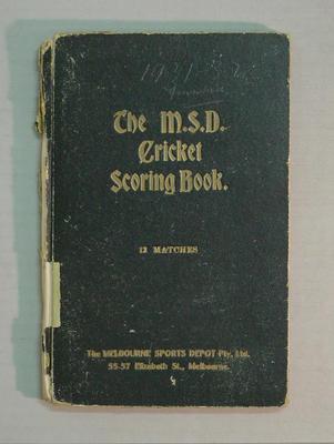 Score book:  McConchie Cricket Club - 1931-32 season