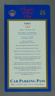 Entree card, 1996 Brownlow Medal Ball