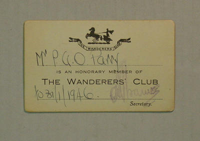 The Wanderers' Club honorary membership card, issued to P A O Parry - 1946