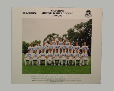 Photograph: Victorian Sheffield Shield Squad 1992-93